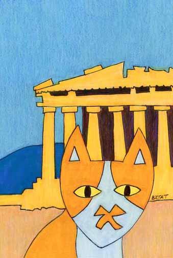 Brewskie-Butt-cat-drawing-Athens-Greece