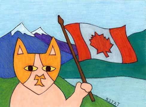 Brewskie-Butt-cat-drawing-Canada-flag-BZTAT