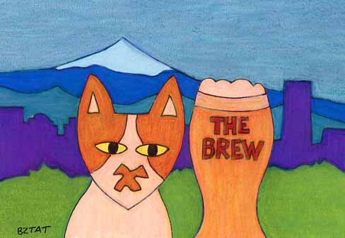 Brewskie-Buttcat-drawing-Portland-OR-skyline