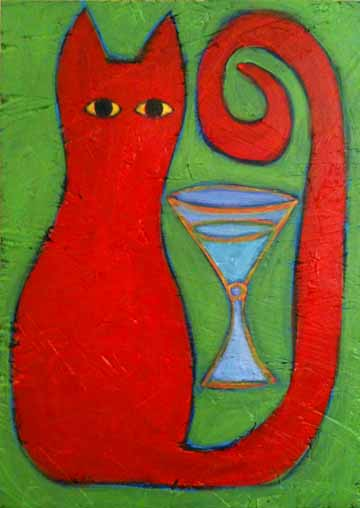 Orange-cat-green-background-painting-niptini-bztat