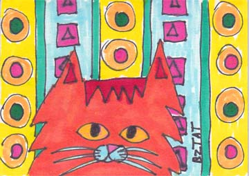 Red-Maine-Coon-Cat-drawing-ACEO-BZTAT