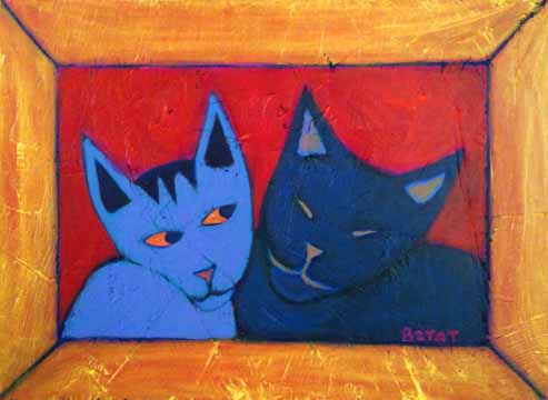 two-cats-love-black-gray-painting-bztat