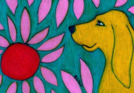 yellow-dog-flowers-abstract-drawing-BZTAT