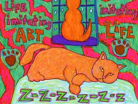 Orange cat imitating art