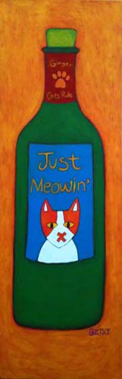 Just Meowin' Wine Bottle painting by BZTAT
