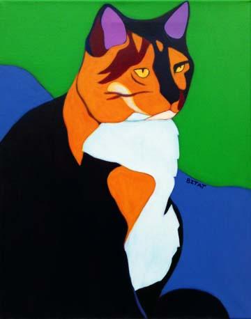 Calico cat pet portrait painting by BZTAT