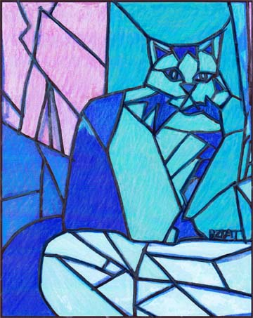 Drawing of a cat for stainglass design