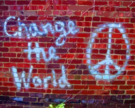 Change the World grafitti art by BZTAT