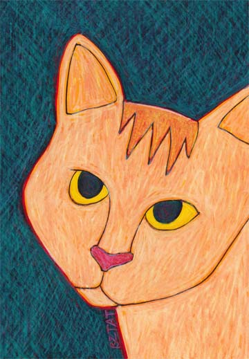 Orange buff cat drawing by BZTAT