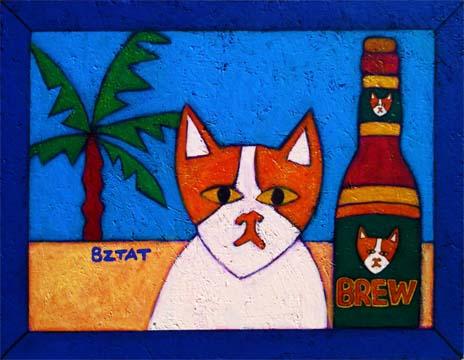 Brewskie Butt cat painting