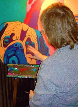 Animal Artist BZTAT painting in studio