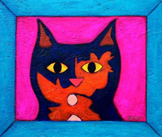 Contemporary Tortoise shell cat painting by BZTAT