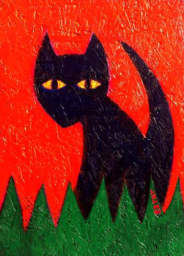 Black cat Halloween painting BZTAT