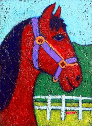 Flicka American Mustang horse painting BZTAT