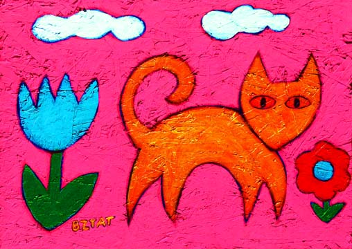 Yellow cat pink background painting BZTAT