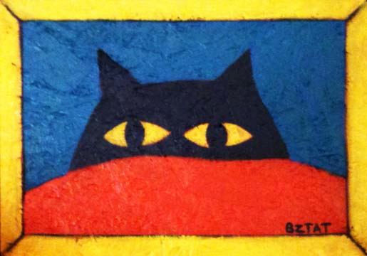 Black cat contemporary folk art painting by BZTAT