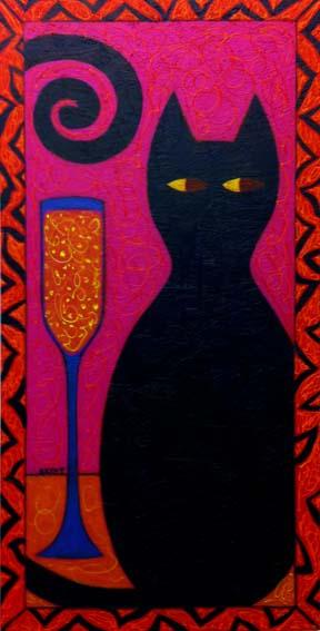 """Feline Spirits"" painting by BZTAT"