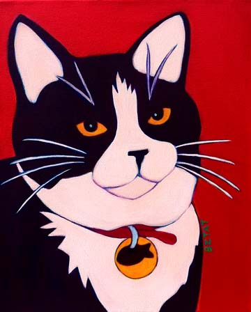 Juniper - black white tuxedo cat pet portrait painting by BZTAT