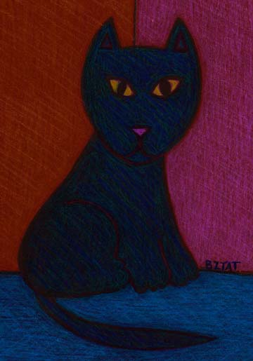 Black cat-house panther drawing by BZTAT