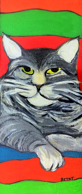 Gray Maine Coon Cat painting by BZTAT