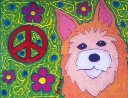 Hippie Peace Pup Painting by BZTAT