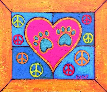 Hippie Peace Paws Painting by BZTAT
