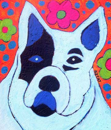 White Hippie Peace Pup Painting by BZTAT