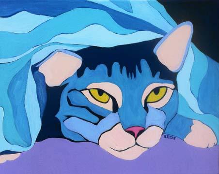 Tabby Cat Under Blanket Portrait Painting by BZTAT