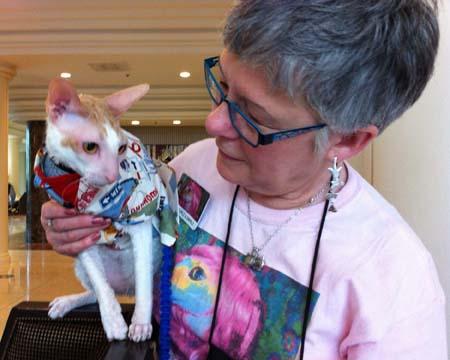 BlogPaws Teri Thorsteinson and her Cornish Rex Cat Brighton