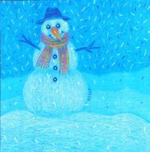 Snowman drawing for the Polar Vortex by Artist BZTAT