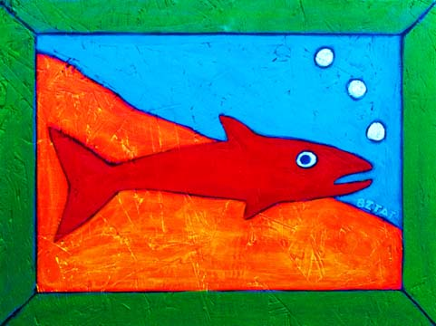 Whimsical Red Fish painting by BZTAT