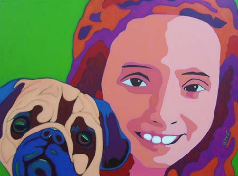 Girl with pug dog portait painting by Artist BZTAT