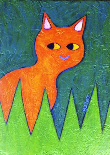 Orange  Cat Painting by BZTAT