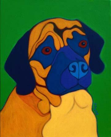 Custom Dog Portrait painting of a Puggle