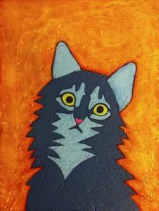 Tabby Cat portrait painting work in progress