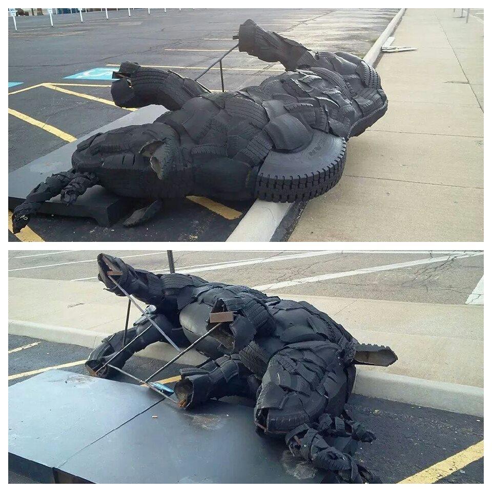 Rhinoceros Sculpture Canton  Arts District damaged