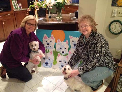 Westie dogs posing with their portrait painting by BZTAT