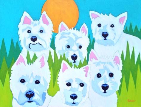 Six Westie Portrait Painting by BZTAT