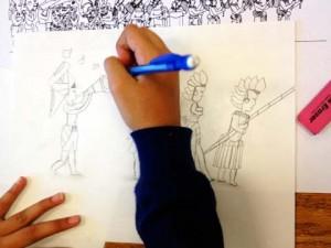Arts Integration - Maya mural drawing