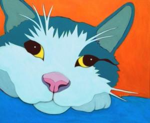 Cat custom pet portrait painting by BZTAT