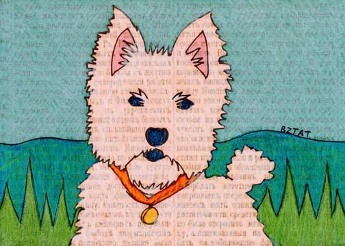 Westie (West Highland Terrier) Dog Drawing by Artist BZTAT