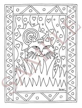 Artist BZTATs Color Me Cats Adult Coloring Book Page Sample