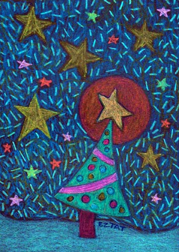1. Holiday Christmas Tree Drawing (Greeting Inside: May your holidays be filled with peace, joy and light.)
