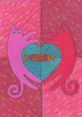 23. Kitty Love Drawing Card (Blank Inside)