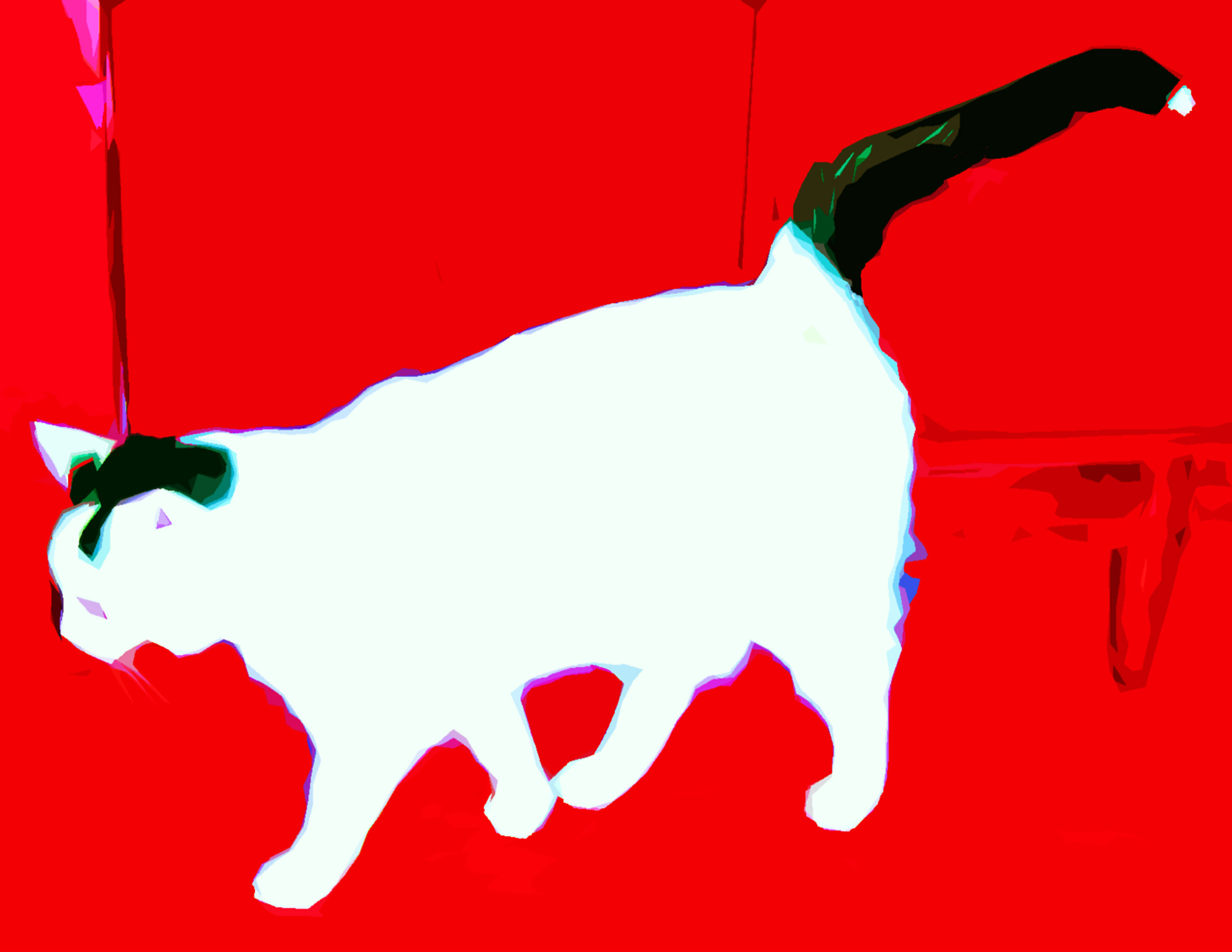 White and black Cat Custom Digital Fine Art Pet Portrait by Animal Artist BZTAT