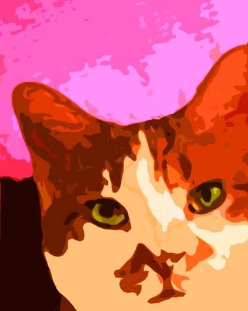 Orange White Cat Custom Digital Fine Art Pet Portrait by Animal Artist BZTAT
