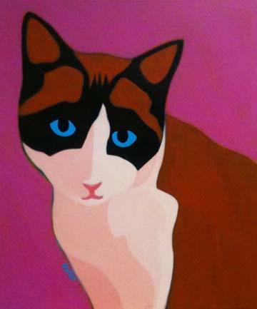 Custom Pet Portrait Painting of a Siamese mix cat