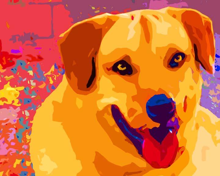 Golden Lab Dog  Custom Digital Fine Art Pet Portrait by Animal Artist BZTAT