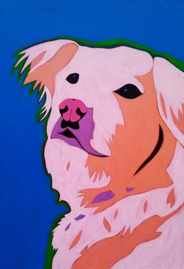 Custom Pet Portrait Painting of a golden retriever