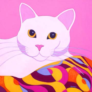 Contemporary Premiere Style White cat portrait painting with patterned blanket by BZTAT
